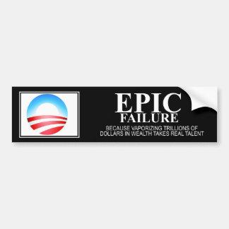 Fracaso épico: Edición de Obama Pegatina De Parachoque