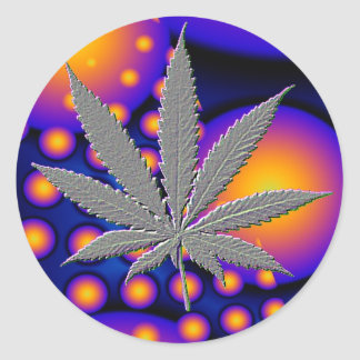 Fractal2s  with embosed pot leaf classic round sticker
