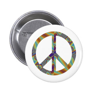 Fractal 001 geométricos del signo de la paz pin redondo de 2 pulgadas