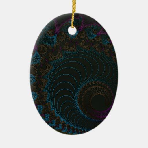 Fractal 11 adorno ovalado de cerámica