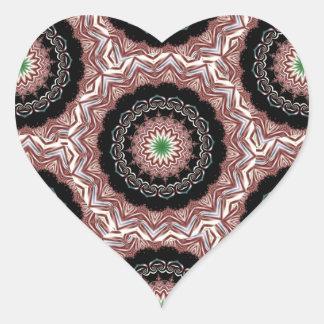 Fractal 13 del caleidoscopio pegatina en forma de corazón