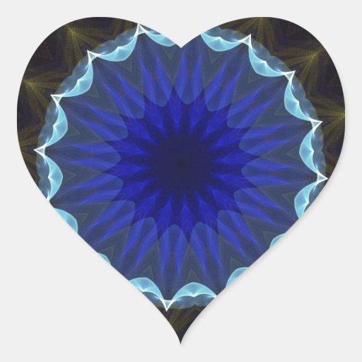 Fractal 184 del caleidoscopio pegatina en forma de corazón
