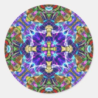 Fractal 193 del caleidoscopio pegatinas redondas