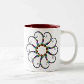 Fractal #1 del ornamento del navidad tazas de café
