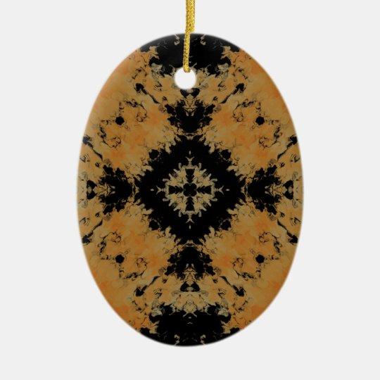 Fractal 26 del plasma adorno navideño ovalado de cerámica