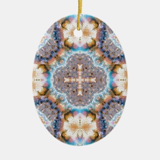 Fractal 32 del mosaico adorno ovalado de cerámica