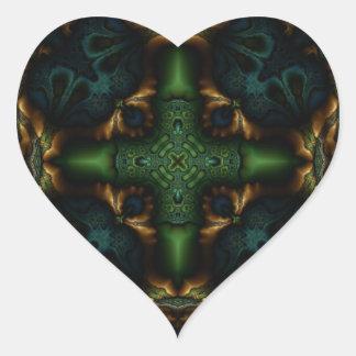 Fractal 413 del caleidoscopio pegatina en forma de corazón