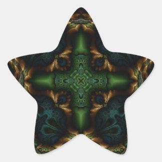 Fractal 413 del caleidoscopio pegatina en forma de estrella