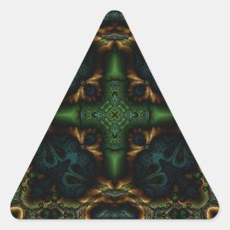 Fractal 413 del caleidoscopio pegatina triangular