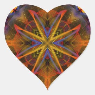 Fractal 459 del caleidoscopio pegatina en forma de corazón