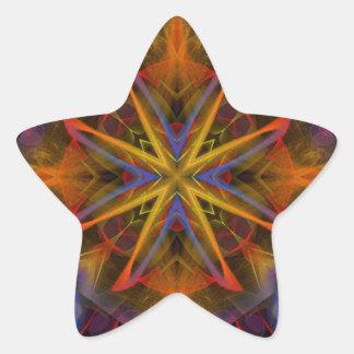 Fractal 459 del caleidoscopio pegatina en forma de estrella