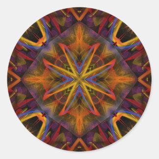 Fractal 459 del caleidoscopio pegatina redonda
