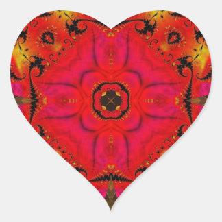 Fractal 460 del caleidoscopio pegatina en forma de corazón