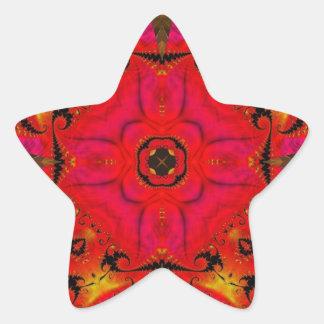 Fractal 460 del caleidoscopio pegatina en forma de estrella