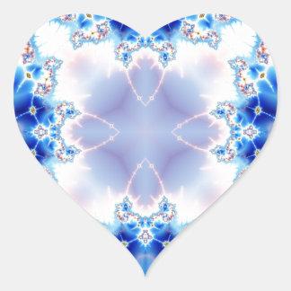Fractal 536 del caleidoscopio pegatina en forma de corazón