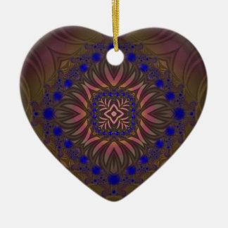 Fractal 538 adorno navideño de cerámica en forma de corazón