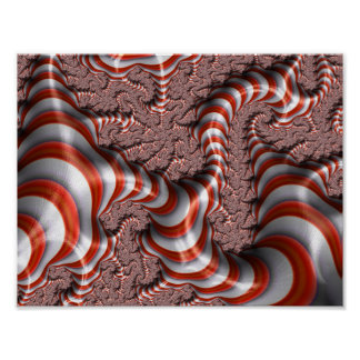 fractal-542155 RED WHITE FRACTAL CANDYCANE STRIPES Poster