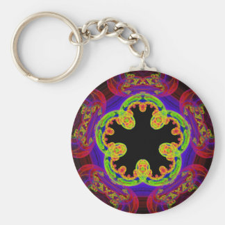 Fractal 5-Fold Rainbow Pattern Keychain
