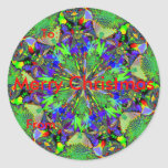 Fractal 63, Christmas Gift Tags Round Stickers