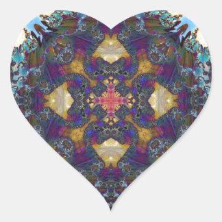 Fractal 647 del caleidoscopio pegatina en forma de corazón
