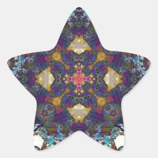 Fractal 647 del caleidoscopio pegatina en forma de estrella