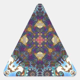 Fractal 647 del caleidoscopio pegatina triangular