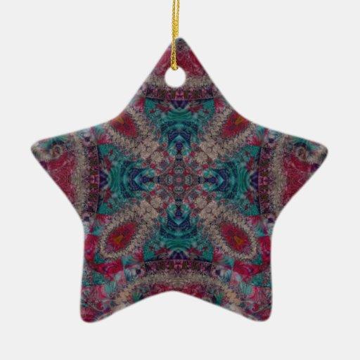 Fractal 672 adorno navideño de cerámica en forma de estrella