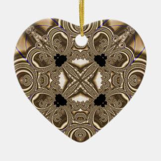 Fractal 711 adorno navideño de cerámica en forma de corazón
