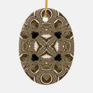 Fractal 711 adorno navideño ovalado de cerámica