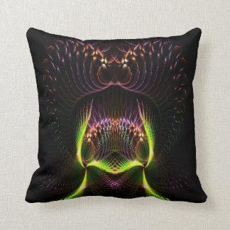 Fractal Abstract alian face designs Throw Pillow