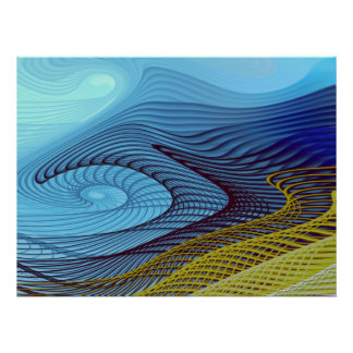 Fractal Abstract Blue Wind Print