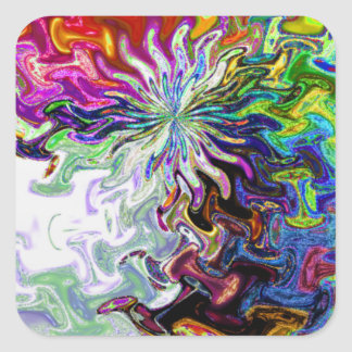 Fractal Abstract Flower Two Sticker Square Sticker