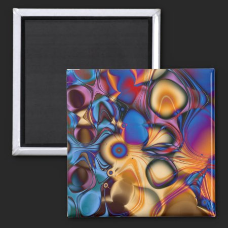 Fractal Abstract Memories 2 Inch Square Magnet