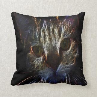 Fractal abstract persian cat face design throw pillow