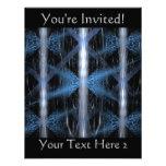 Fractal abstracto azul y negro Art. del diseño Invitaciones Personales