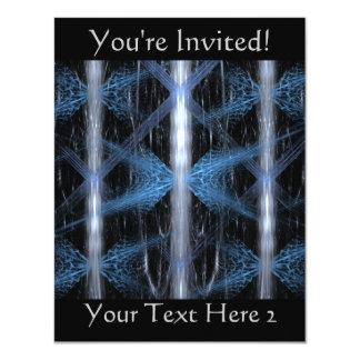 """Fractal abstracto azul y negro Art. del diseño Invitación 4.25"""" X 5.5"""""""