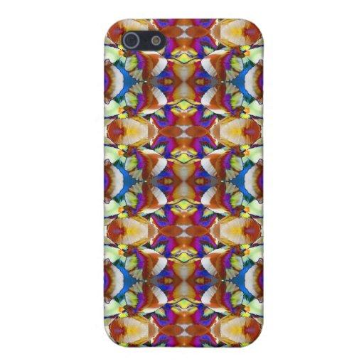 Fractal abstracto de la flor del pensamiento iPhone 5 fundas