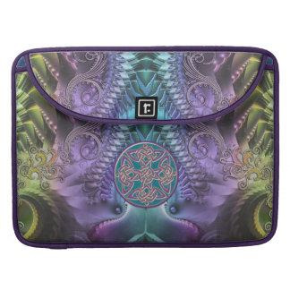 Fractal abstracto púrpura de la turquesa y nudo fundas macbook pro