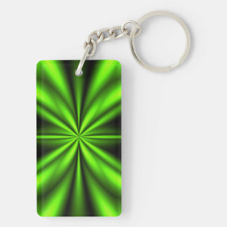 Fractal abstracto verde de neón llavero