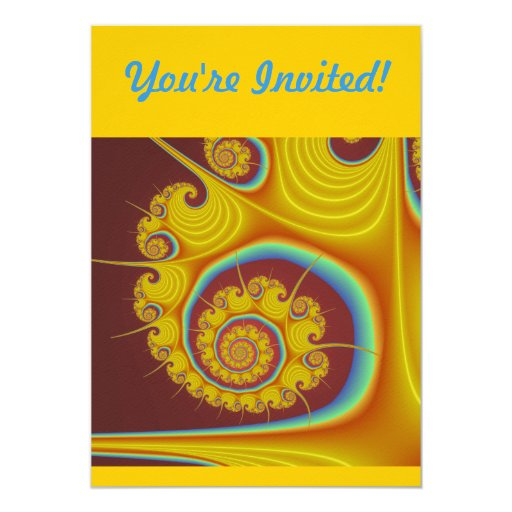 Fractal amarillo del espiral del Seashell Comunicado Personalizado