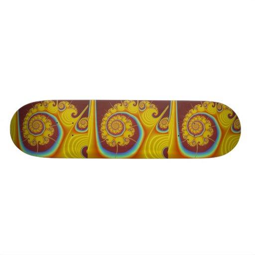 """Fractal amarillo del espiral del Seashell Patineta 7 3/4"""""""