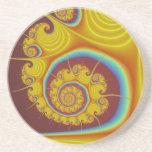 Fractal amarillo del espiral del Seashell Posavasos Para Bebidas