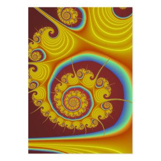 Fractal amarillo del espiral del Seashell Tarjeta De Negocio