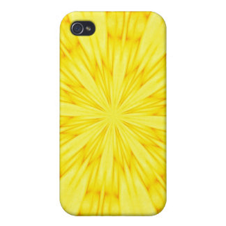 Fractal amarillo del flor iPhone 4/4S fundas