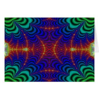 Fractal amarillo rojo del Wormhole del verde azul Felicitaciones