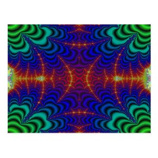 Fractal amarillo rojo del Wormhole del verde azul Tarjeta Postal