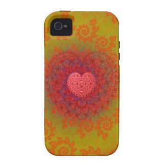 Fractal amarillo y anaranjado rojo del corazón vibe iPhone 4 funda