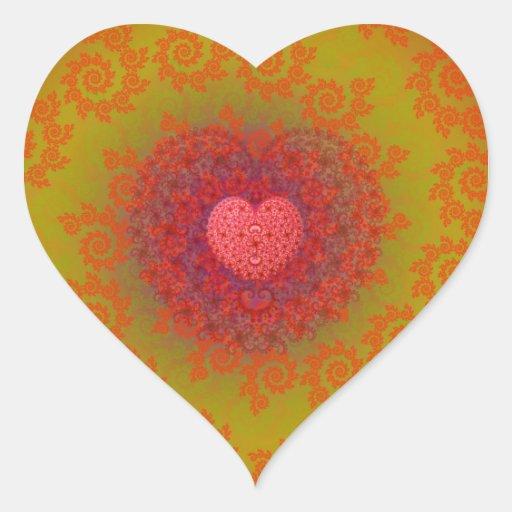 Fractal amarillo y anaranjado rojo del corazón calcomanía corazón personalizadas