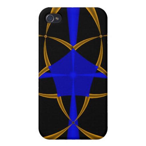 Fractal anaranjado de la estrella iPhone 4 fundas