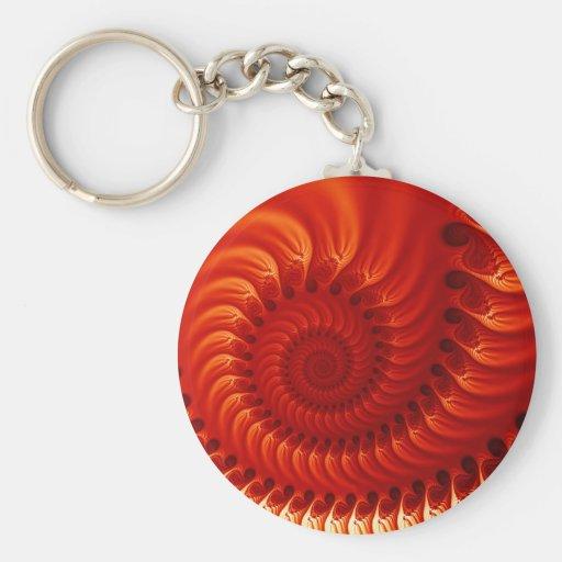 Fractal anaranjado quemado llavero redondo tipo pin